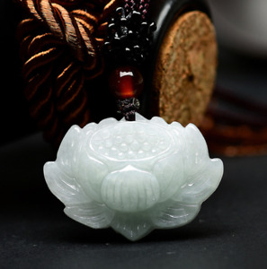 100% natural Jadeite jade chinese Hand-carved Lotus flower antique Pendant