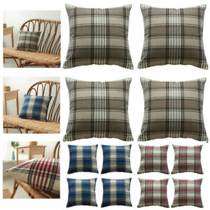 """Set of 2 or 4 Tartan Check Cushion Covers 16/18/20/22/24"""" Brown Red Pillow Cover"""