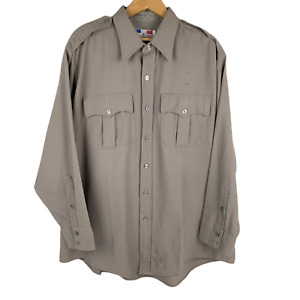 Flying Cross Mens Military Service Shirt All Weather Beige Long Sleeve USA 2XL
