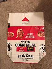 Original 1960's Aunt Jemima White Corn Meal  5 Lb. Bag