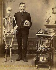 Medical Skeleton Art Print 8 x 10 - Victorian Doctor Oddity Skull - Goth Horror
