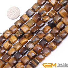 Natural 10mm Tiger's Eye Gemstone Square Beads For Jewelry Making Strand 15""