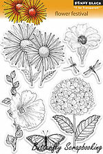 Flower Festival, Clear Unmounted Rubber Stamp Set PENNY BLACK 30-095 New