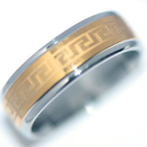 Cool Stainless Steel Mens Ring Band Ring Gold Man Jewelry HipHop Punk Size 8