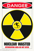 POSTER : BEER: COMICAL SIGN : NUCLEAR WASTED  - FREE SHIPPING ! #24-023  RP74 V