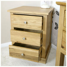 Solid Oak Bedside Table With 3 Drawers | Light Oak Bedroom Furniture 0306