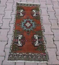 Oushak Oriental Wool Carpet Turkish Hand Knotted Vintage Doormat Rug 1.7x3.5 ft