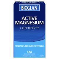 Bioglan Active Magnesium + Electrolytes 100 Chewable Tablets - Orange Flavour