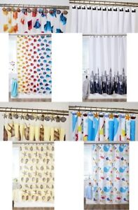 POLYESTER FABRIC READY MADE BATHROOM SHOWER CURTAINS PVA RINGS SOLD SEPARATELY