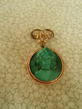 Antique Victorian 14K Carved Malachite Cameo Bust of Woman Pendant / As Is