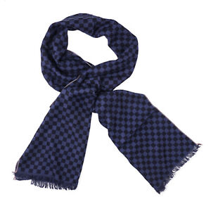 Isaia Blue and Navy Check Print Superfine Cashmere and Silk Scarf NWT $750