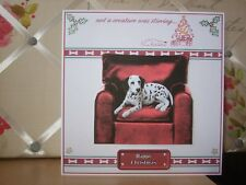 Handmade Dalmatian Puppy Dog Christmas Card Dog Greetings Large Happy Armchair