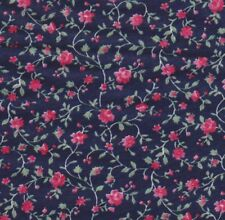 "18"" X 22"" FQ Cotton Print Fabric: Bright Pink Little Roses, Green Vines, Leaves"