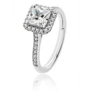 Silver & Co Sqaure Halo CZ Engagement Ring