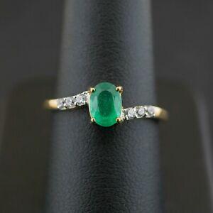(NE6) 9CT Yellow Gold Emerald & Diamond Ring SIZE P 1.7 grams