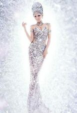 Halloween Show Fashion Women Silver Sequins Mermaid Dress Pageant Cos Costume
