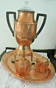 Rare Antique Jos. Heinrich Copper Coffee Percolator & Buffet Tray, Creamer Sugar