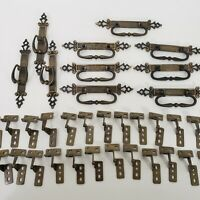42 Pc Vintage Drawer Cabinet Pulls Hinges Brass 1971 Gold Tone Medieval Hardware