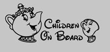 Children On Board Car Window Vinyl Sticker Decal - WHITE Beauty And The Beast