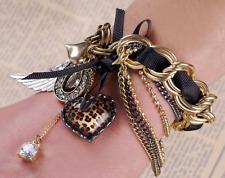 Hot Betsey Johnson Fashion Jewelry Leopard pattern peach heart wings bracelet
