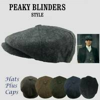 Peaky Blinders Hat Newsboy Flat Cap Herringbone Tweed Wool Baker Boy Gatsby~!
