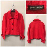 James Lakeland Red Cardigan UK 18 EUR 46 Lana Wool