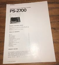 SONY AUTOMATIC TURNTABLE SYSTEM PS-2700 ORIGINAL OWNERS INSTRUCTION MANUAL L046