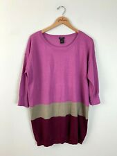 Ann Taylor Purple Colorblock 3/4 Sleeve Lightweight Wool Sweater Size X-Large XL
