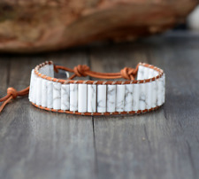 Natural Beaded Wrap Cuff Bracelet, Howlite, Leather Oblong White, Gemstone
