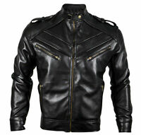 New Leather Biker Motorcycle Retro Classic Cafe Racer Original Leather Jacket