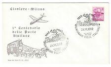 ITALIA 1962 1° centenario delle poste claviere milano fdc 15 lire cod.bu.059