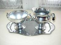 Vintage, 3-pc Foreman Ware, Chrome,  Sugar, Creamer and Tray Set