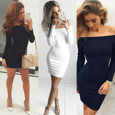 Fashion Women Off Shoulder Bodycon Long Sleeve Evening Party Cocktail Mini Dress