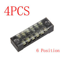 4pcs Block/Strip 6 Position 600V 15A Wire Barrier Dual Row Screw Terminal Panel