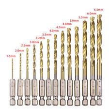 13tlg/set* HSS Sechskantschaft Schnellwechsel Kobalt Bohrer Bits 1,5-6,5 mm