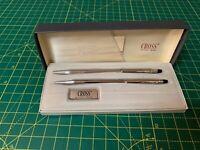 Vintage Cross Chrome Pen & Ball Pencil Set 3501- Made In USA