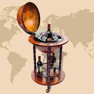 Old Italian Style Globe Map Mini Bar Wine Liquor Cabinet Storage Wood Rack Stand