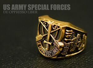 US Army Special Forces Signet Ring Brass Gold