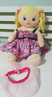 GIRL DOLL BUILD A BEAR YELLOW PIG TAILS AND DRESS ! 45CM! BLONDE DOLL