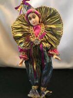 "Vintage Harlequin Jester Clown Doll w Porcelain Face Hand & Feet 13"" Renaissance"