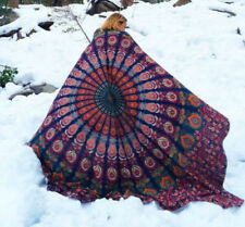 Blue Peacock Indian Mandala Hippie Queen Wall Hanging Tapestry Throw Bedspread