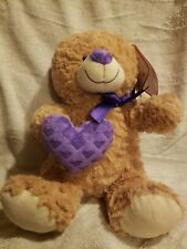 NEW! Rare! Valentines Day Teddy Bear with Purple Heart 12""