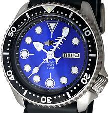 "Vintage mens Seiko diver 6309 FISH-BONE mod w/BLUE ""Tuna"" Mother of Pearl dial !"