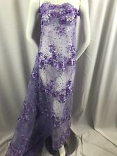Floral - Embroidered Flower Mesh & Pearls By The Yard Lace Fabric Lilac