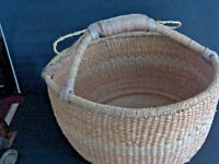 Unique Extra Large Native American Leather Handled Woven Basket , gathering