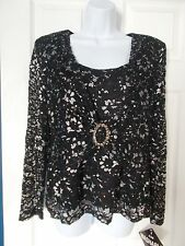 Black Shimmery Top by R & M Richards - Size 12P