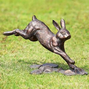 Running Rabbit Garden Sculpture Metal Bunny Statue Bronze Finish Outdoor Decor
