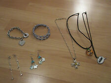 Modeschmuck Sammlung 2x Ohrringe 2x Armband 3x Kette Topp Herz Blume