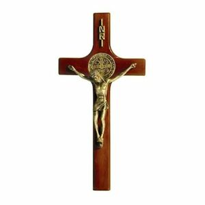 "Beautiful Maple Hardwood/Resin -- 8"" H ST. SAINT BENEDICT CRUCIFIX for the wall"