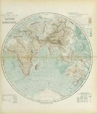 EASTERN HEMISPHERE relief. Europe Africa Asia Australia. LETTS 1883 old map